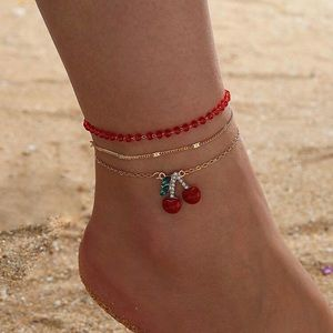 3/$30 🍒 3pc Cherry Charm Anklet